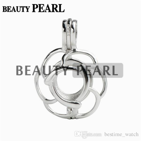 Bulk of Pick A Pearl Locket Wish Love 925 Sterling Silver Jewellery Flower Cage Pendant