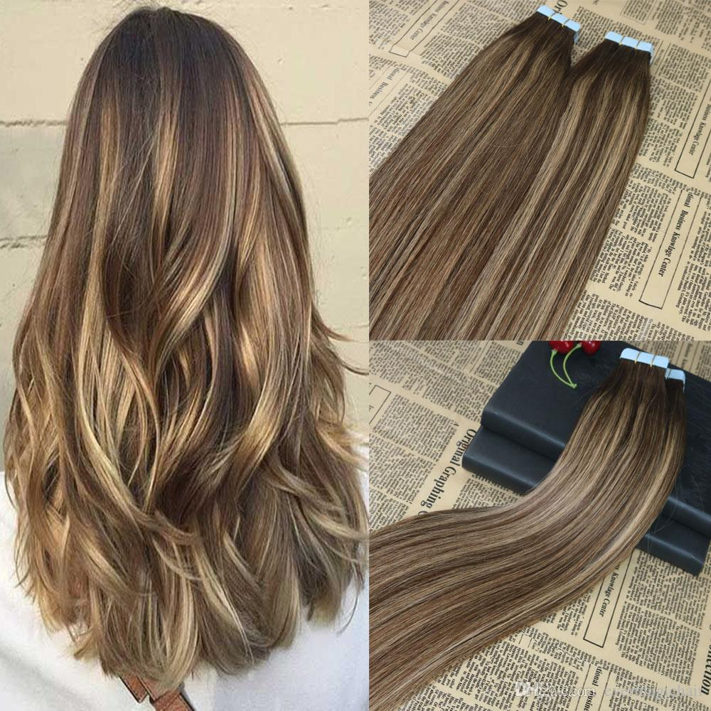 100 Human Hair Tape In Extensions Balayage Highlighted Tape On Remy