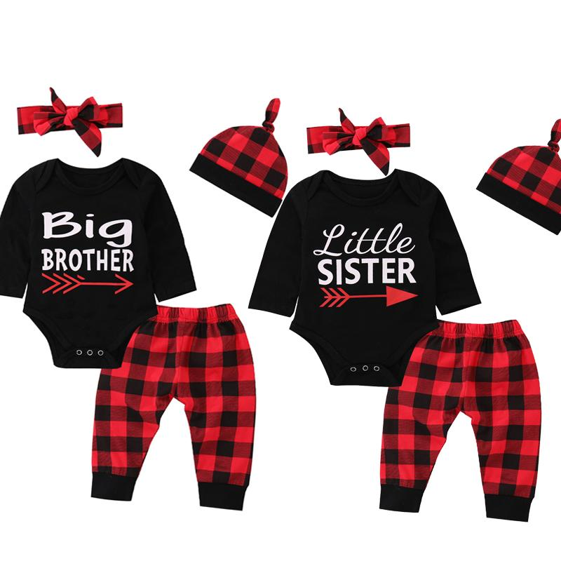 836fb0086ef5 Newborn Baby Clothing Kids Plaid Suit Big Brother Little Sister ...