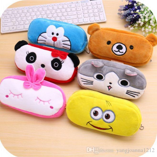 Kawaii Cute Animal Soft Plush Pen Case Coin Purse Cosmetic Makeup Pouch Storage Kids Birthday Gift