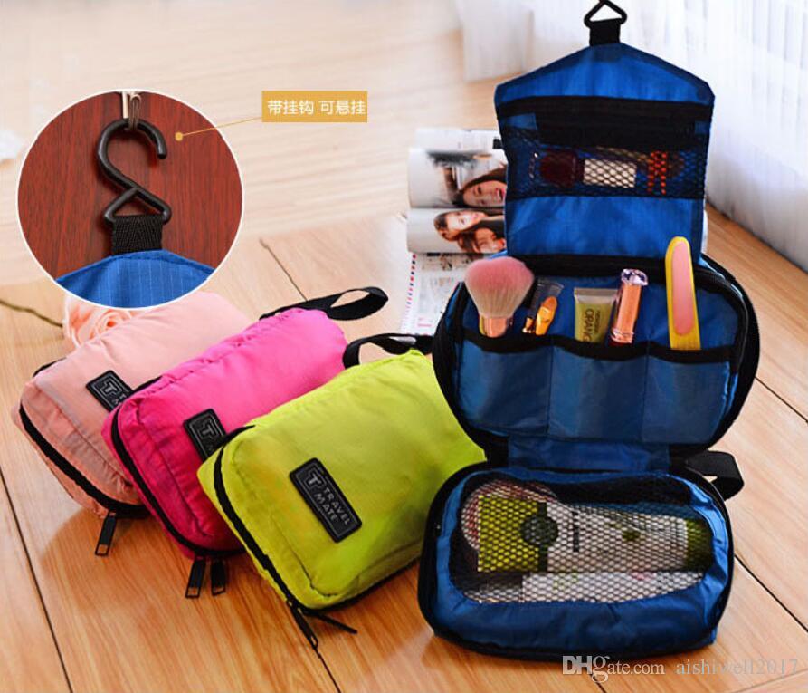 Estuche de viaje cosmético maquillaje organizador bolso mujeres bolso de viaje informal bolsas de cosméticos multifuncionales con gancho bolso de almacenamiento