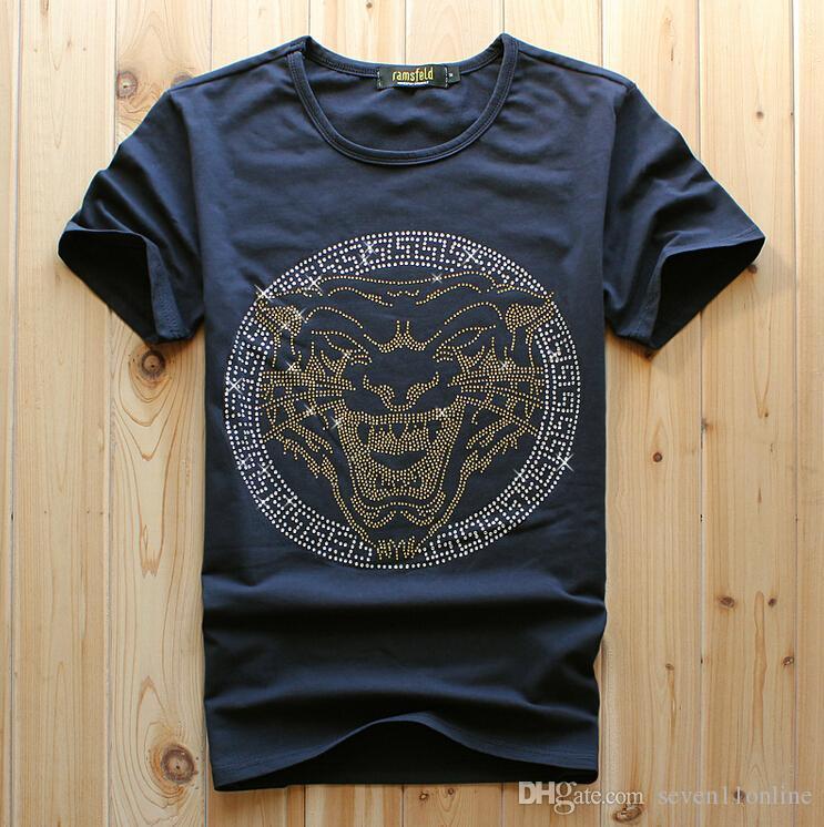 2021 мода мужская черная цветная короткая футболка тигр роскошный алмазный дизайн повседневная хлопчатобумажная с коротким рукавом футболки бренд хип хмель хлопчатобумажные уплотнительные топы мужская белая мода