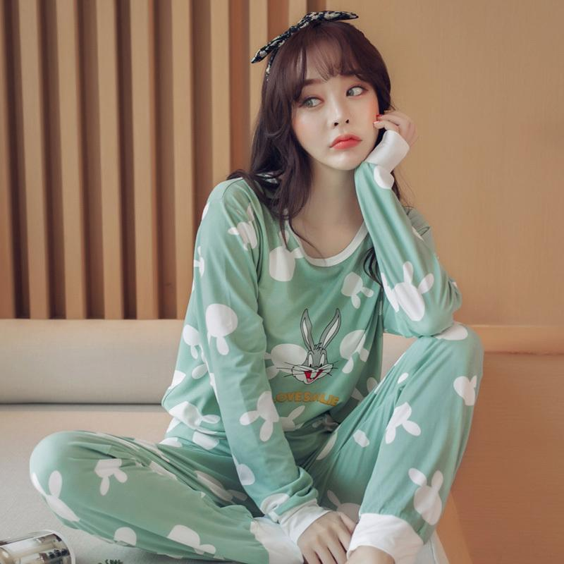 10f5ae2a7b Compre HOt Venta 2017 Otoño Invierno Pijamas De Algodón Mujeres Chica Pijama  Conjuntos Pijamas De Pijamas De Dibujos Animados De Las Mujeres De Manga  Larga ...