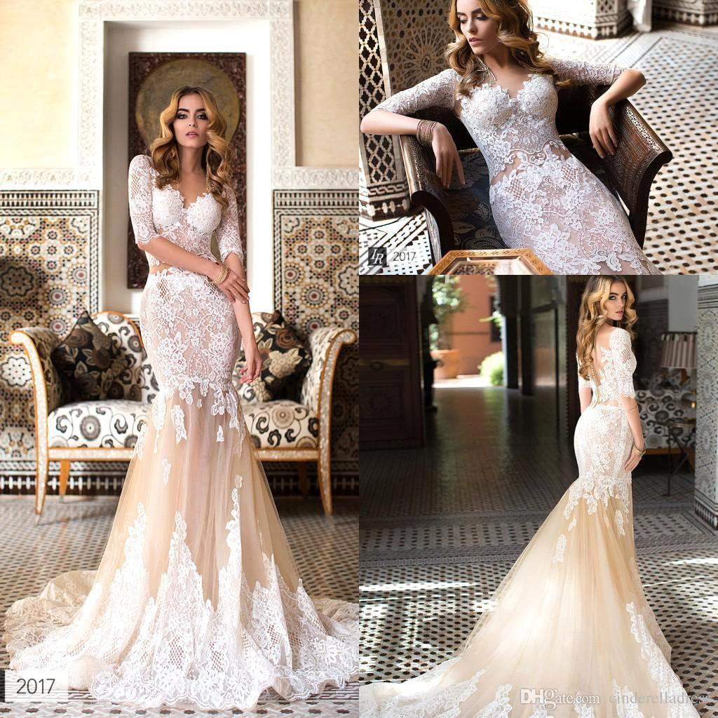 075611f5ff97 New Champagne Lace Mermaid Wedding Dresses 2018 Sheer Tulle Appliques Half  Sleeves Long Bridal Gowns Plus Size Tea Length Wedding Dresses Wedding Dress  ...