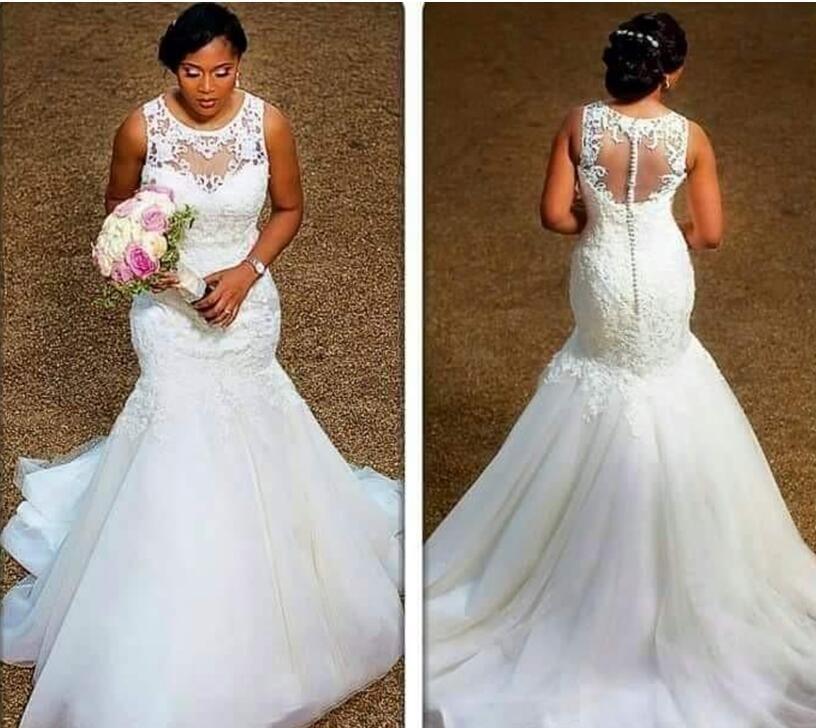 100% Real Image Elegant Mermaid Wedding Dresses Sheer Neck Appliques Lace  Tulle Plus Size Wedding Dresses Cheap Bridal Gowns Illusion Wedding Dresses  ... 996b4e299304