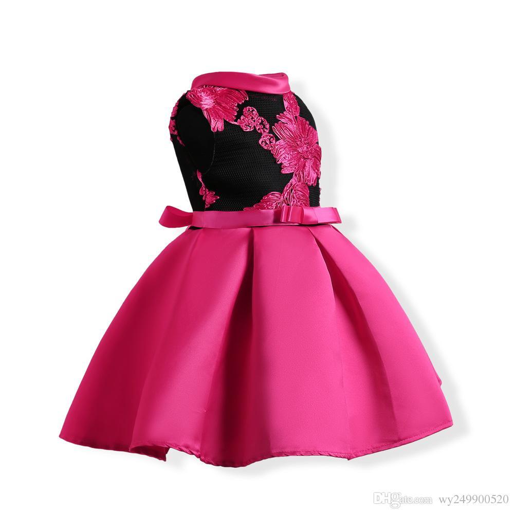 Chaude Filles O-cou Bowknot robe sans manches haut de gamme européenne et Américaine style princesse Puff robe en gros livraison gratuite