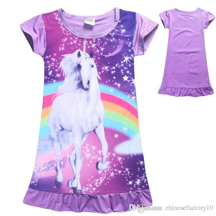 b3c49f75a16a3 Acheter Filles Unicorn Pyjamas Dress Enfants Coton Manches Courtes Robe  Vêtements De Nuit Enfants De Bande Dessinée D été Jupes De Nuit Chemise  D été 2 ...