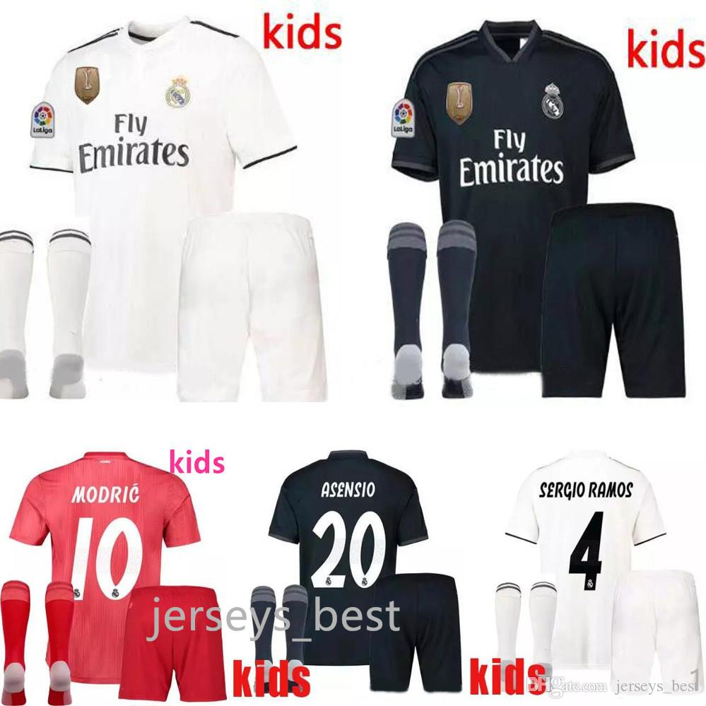 2b49e6726 18 19 Real Madrid ASENSIO Soccer Jerseys Adult Sets 2018 2019 THIRD Red  BALE ISCO RAMOS Kids Kits Football Shirts Home Away MODRIC 18 19 Real Madrid  ASENSIO ...