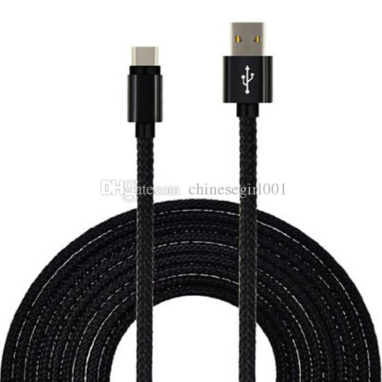 Cable trenzado USB de 1m 2m 3m tipo C Cargador de datos de tela para Xiaomi 4C / Leshi / Nokia N1 / ZUK-ZE para lg g