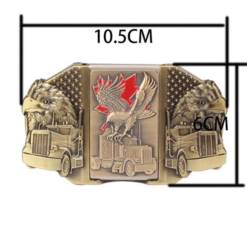 Cinturón de encendedor de cigarrillos de estilo ruso cinturón de los hombres más ligero hebilla de metal encendedores Golden Eagle Kerosene cinturón más ligero para los hombres regalo
