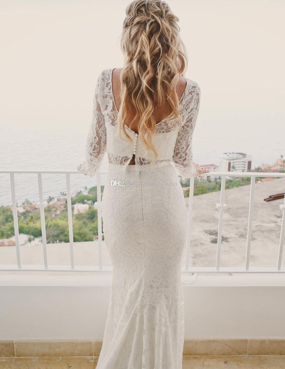 Fairy Two Pieces Lace Wedding Dresses Long Sleeves Sweep Train Lace Mermaid Wedding Dresses Bridal Gowns 2018 New Arrival