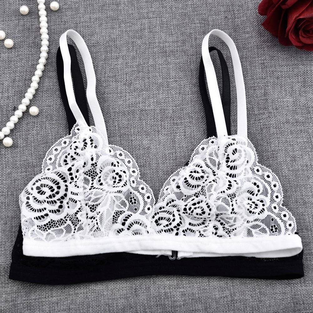 300b33535a908 2019 Sexy Women Floral Sheer Lace Triangle Bralette Bra Crop Top Bustier Unpadded  Mesh Lined From Netecool