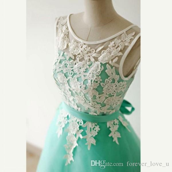 Cheap High Quality Short Prom Dresses Sheer Bateau Neck Sleeveless Lace Tulle Turquoise Formal Party Gowns with Sash Custom Colors