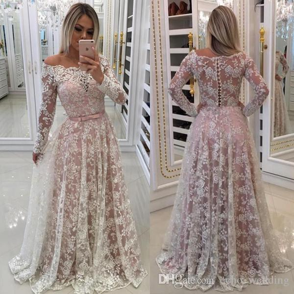 Full Lace Prom Dresses Long 2018 Blush Pink A Line With Long Sleeves