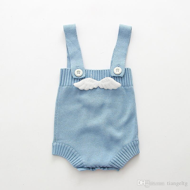 Knitted Baby Romper with Wings or Pockets Suspenders Spring Autumn Baby Boy Girl Knitted Jumpsuit Soft Baby Clothes 0-3T