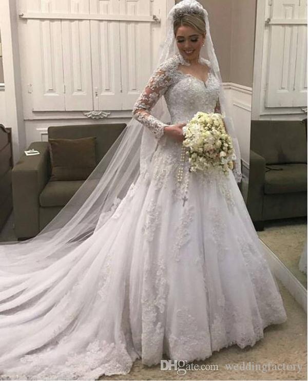 Vintage Lace Tulle Long Sleeve A-line Wedding Dresses Unique High Neck Beads Sequins Appliques Modest Bridal Gowns with Train High Quality