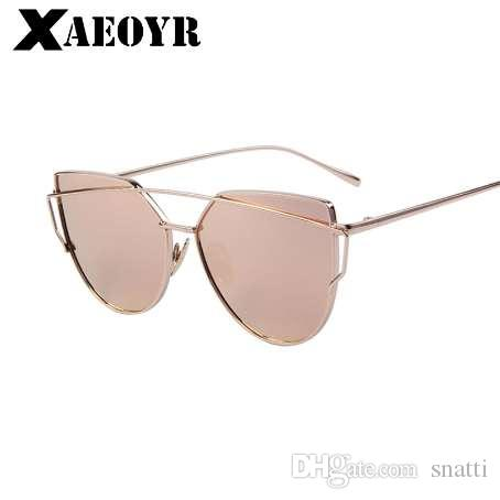 943422aa73bc Cat Eye Vintage Brand Designer Rose Gold Mirror Sunglasses For Women Metal  Reflective Flat Lens Sun Glasses Female Oculos Sunglasses Hut Reading  Glasses ...