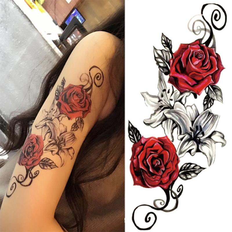 Watercolor Cool Henna Rose Flowers Temporary Body Tattoo Beautiful