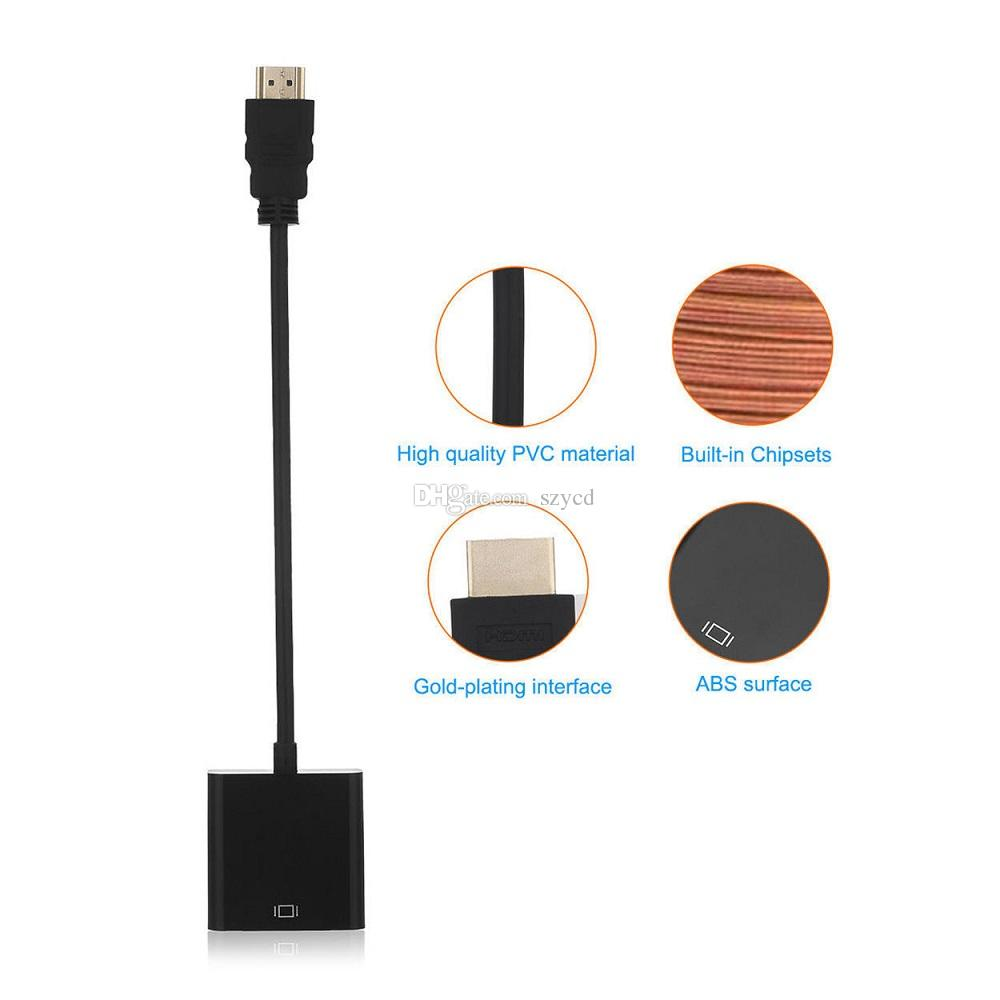1080P HDMI Male to VGA Female Audio Video Cord Adapter Converter Cable For PC DVD TV FREE DHL