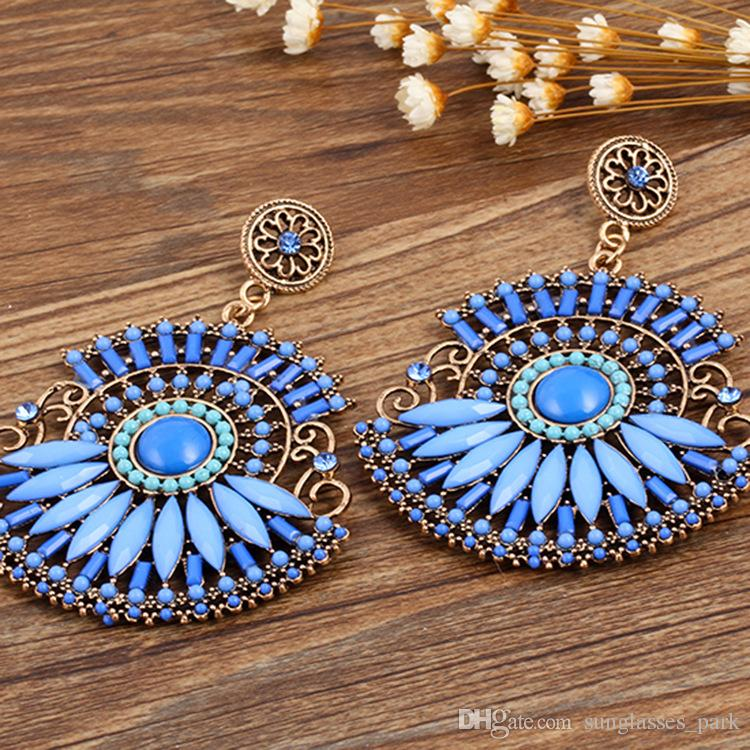 Wholesale exquisite Bohemian style new alloy resin rhinestone retro lady earrings factory direct Valentine's Day gift