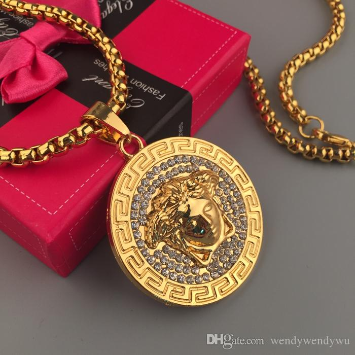 Очень высокое качество! Хип-хоп Медуша Headcount кулон ожерелье с кукурузы цепи Алмаз 24K позолоченные