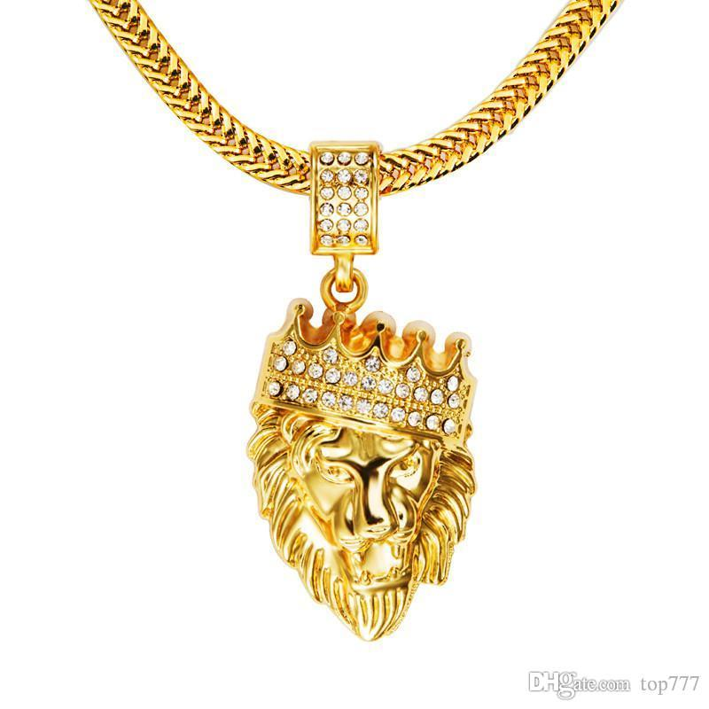 416604ee705f Wholesale 2018 Mens  Hip Hop Jewelry Iced Out Gold Fashion Bling Lion Head  Pendant Men Necklace Gold Filled For Men Women Gift Present Gold Name  Necklace ...