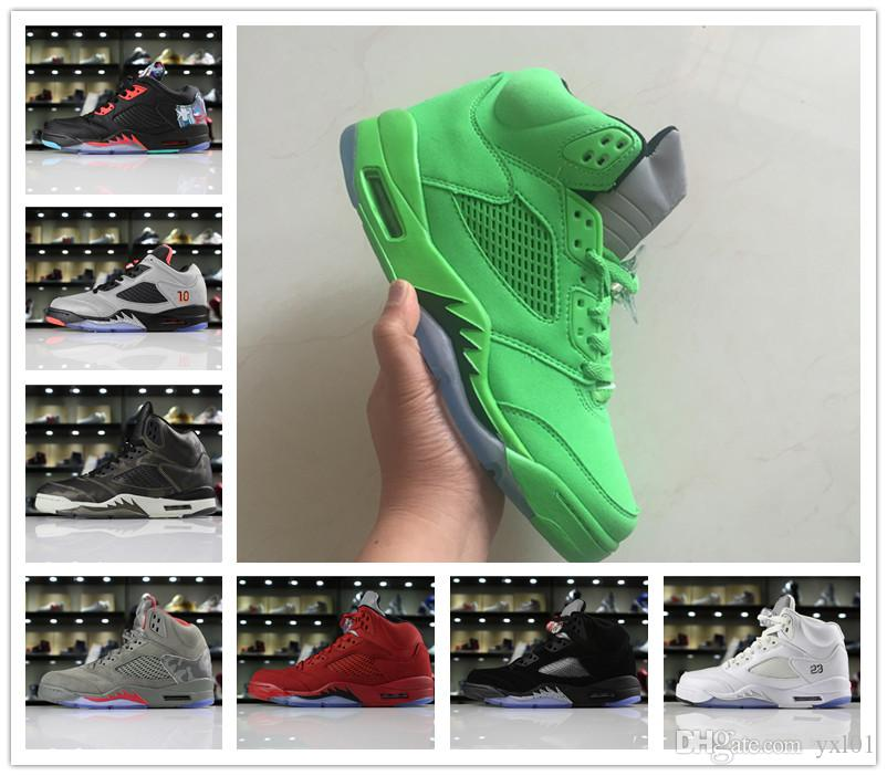 Cheap All Green China Kite Premium Heiress Metallic Field Silver Camo Red Suede 5 Basketball Shoes Good Men Women 5s Sports Sneakers 5-13
