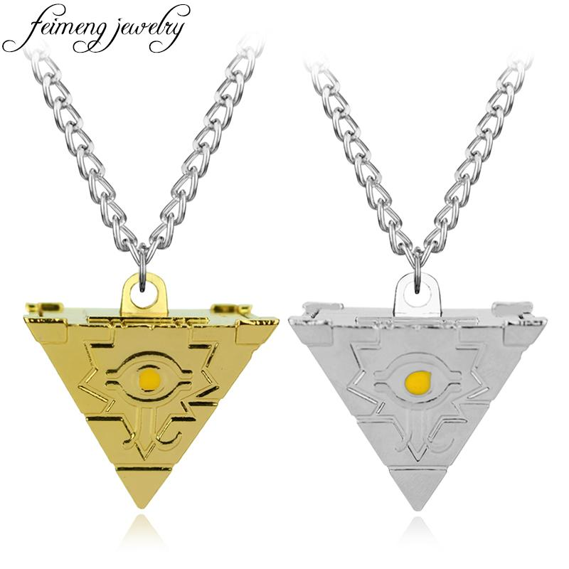 Wholesale Feimeng Jewelry Anime Yu Gi Oh Necklace Game Yugioh 3d Millenium Puzzle Pendant Pyramid Egyptian Eye Of Horus For Men Gold Jewellery