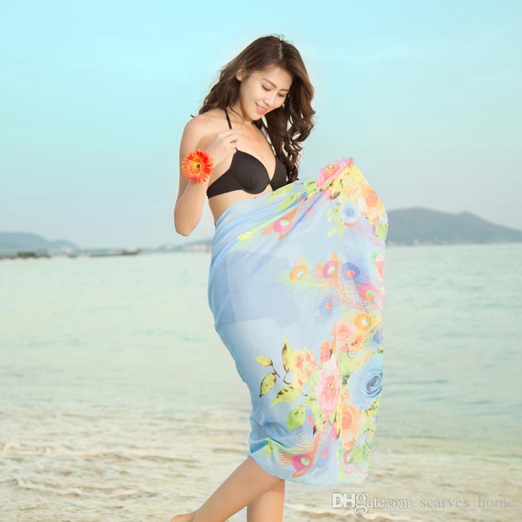 200*100 см летом печати шелковый шарф негабаритных шифон шарф женщины обернуть саронг солнцезащитный крем парео пляж прикрыть длинный мыс женский
