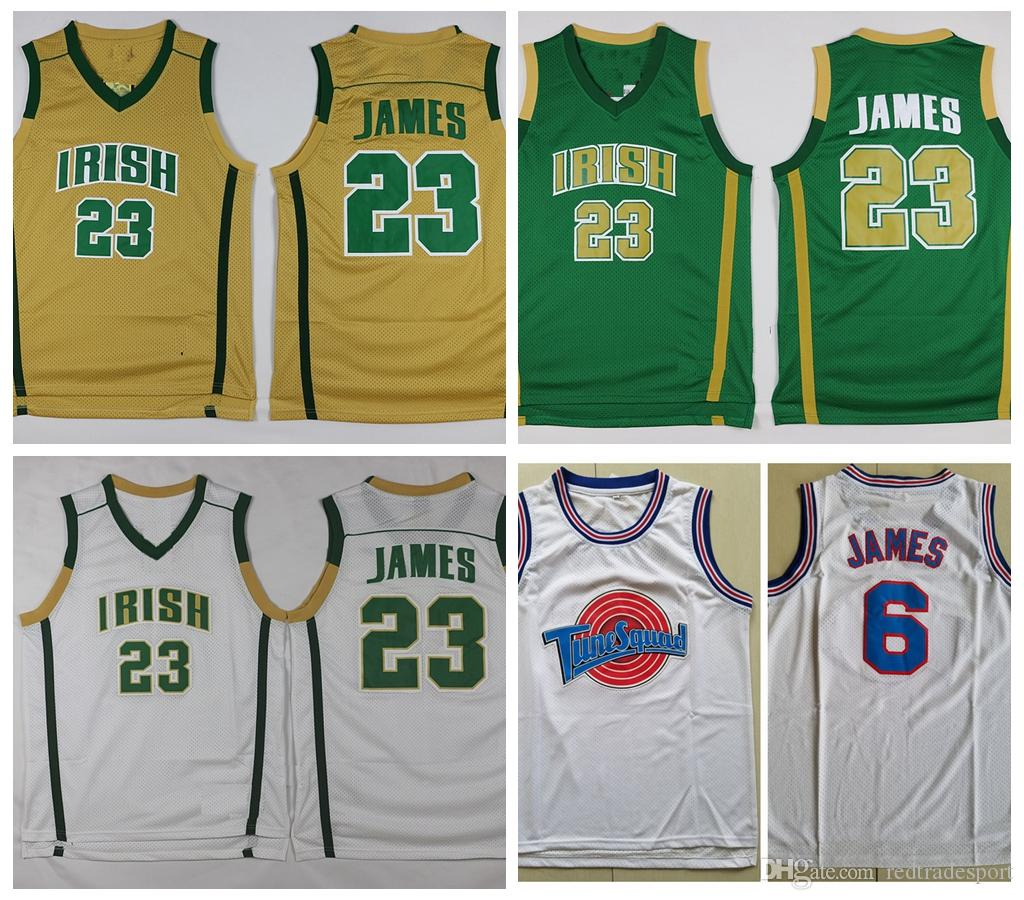 8345e6fb2ff 2019 Mens St. Vincent Mary High School Irish LeBron James Jerseys  23 Green LeBron  James Tune Squad Space Jam Stitched Vintage Basketball Shirts From ...