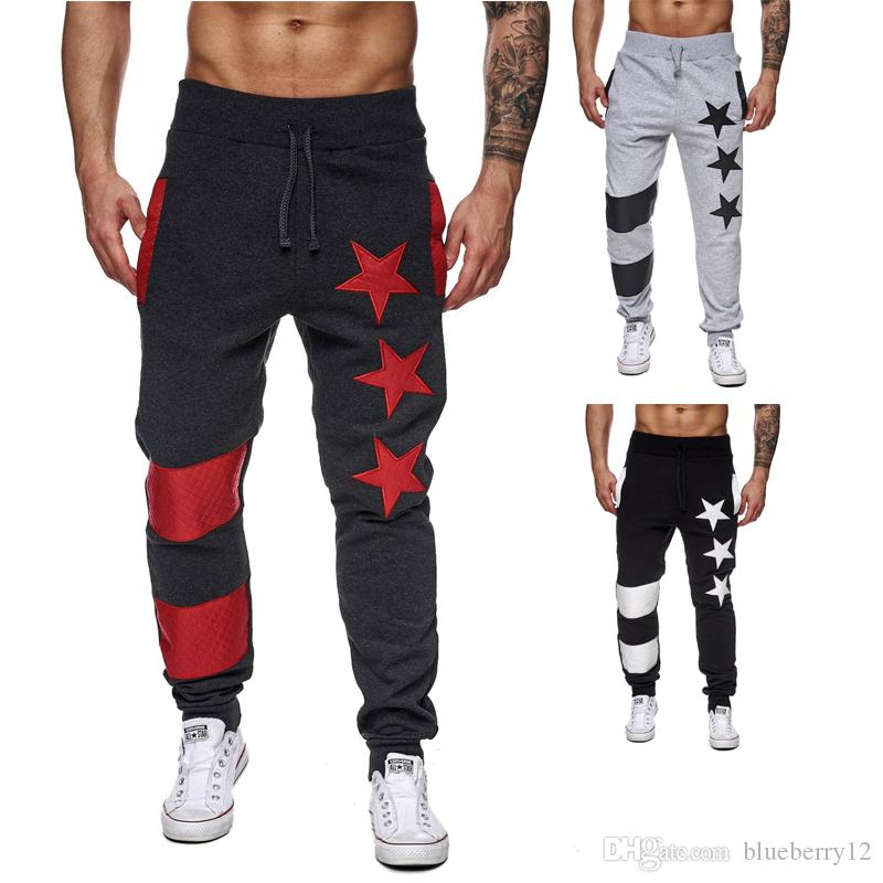 Fashion Mens Patch Designs Joggers Stars Stripes 2018 New Panelled Sports Pants 3 Colors Drawstring Casual Joggers