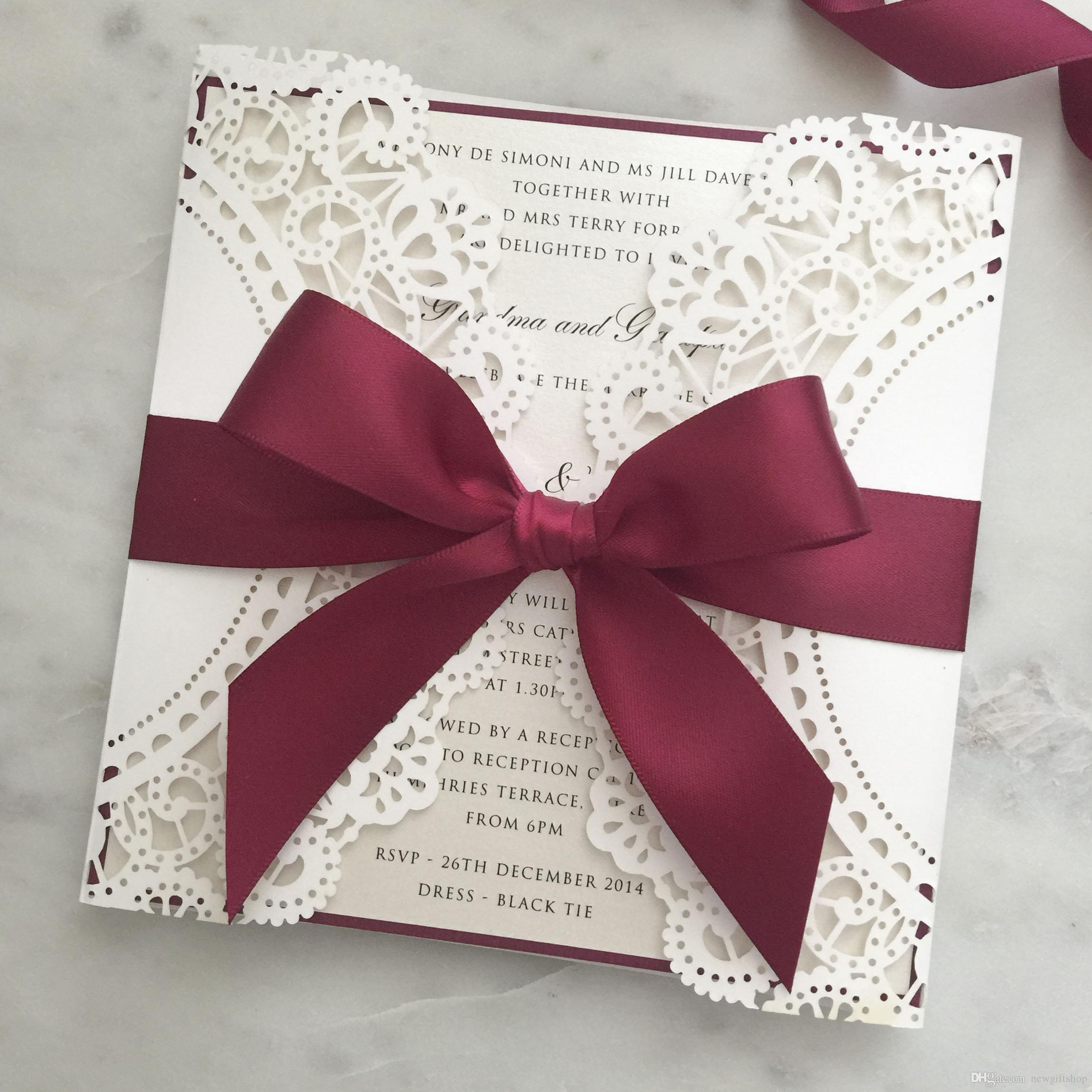 2019 Ivory Shimmy Wedding Invitation with Burgundy Ribbon, DIY ...