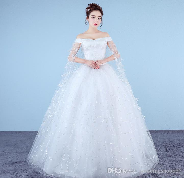 0d6a0acb235 Cathedral Tail 2016 Luxuries Ball Gown Wedding Dresses Off Shoulder Short  Sleeve Lace Appliques Vestido De Noiva Women Wedding Bridal Gowns Lace  Bridal ...