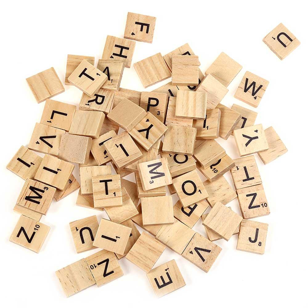 100pcs Wooden Scrabble Tiles Capital Letters Board Toy Alphabet Wooden Board Game Toys For Crafts Pendants Spelling By Fuhaieec