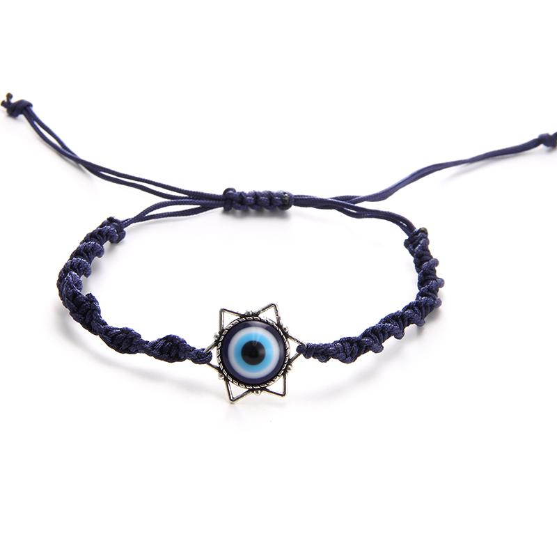 Fashion Lucky Charm Blue Eyes Star Of David Bracelets Bangles Men