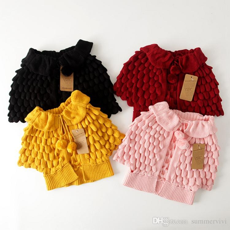 Kids Girls Knit puff cardigan baby girl Batwing poncho babies Fall Winter outwear knit sweaters children's clothes A6860