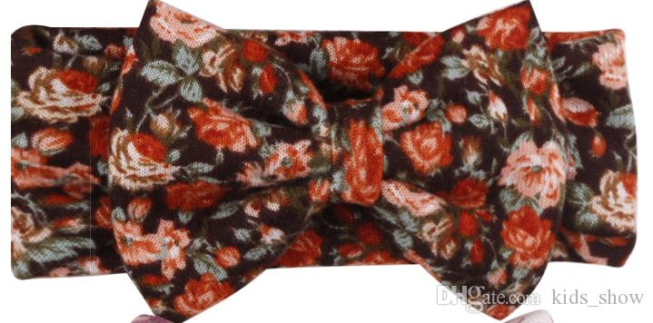 Lindo Colorido Boho Recién Nacido Diadema Cinta Elástica Estampado Floral Bowknot Baby Headwear Hairbands venta caliente