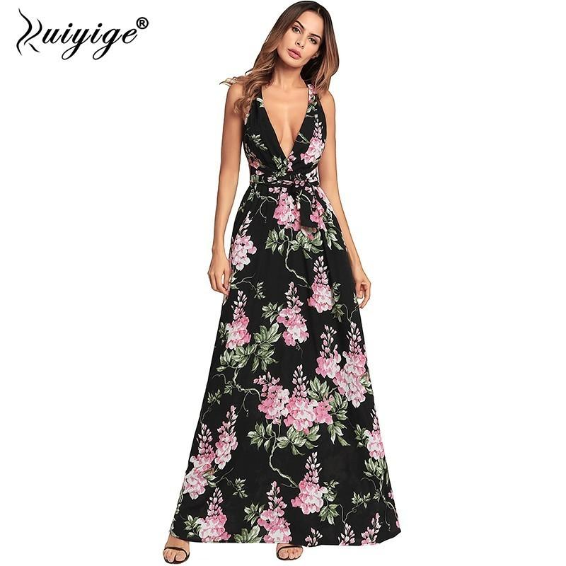 b9ff8edc1e 2019 Ruiyige Sexy Deep V Backless Maxi Dress Halter Floral Print Chiffon  Summer Party Dresses Split Bandage Women Long Bench Vestidos From Vickay