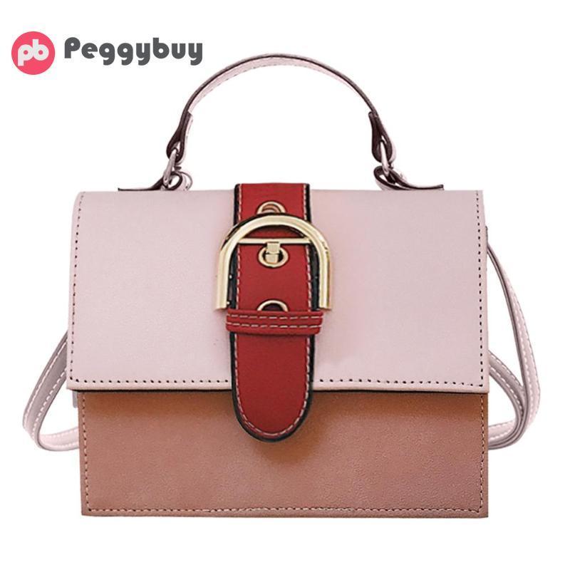 Fashion Women Patchwork Color Top Handle Handbag Ladies PU Leather Casual  Crossbody Messenger Bags Buckle Design Elegant Clutch Italian Leather  Handbags ... 9fed4248a7