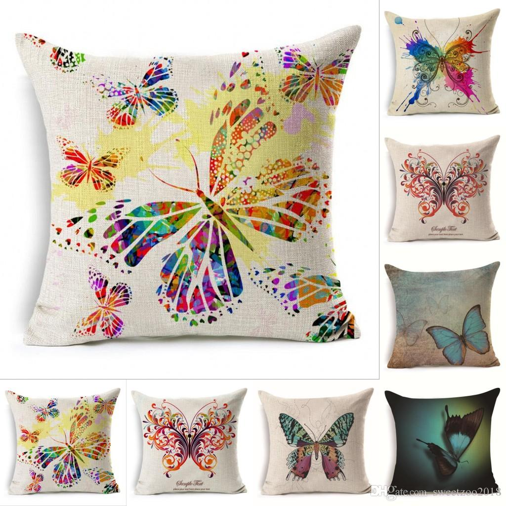 Designer square pillowcase throw pillow covers home decor colorful printing butterflies linen 4545 cm back cushion for living room hotel seat cushions for