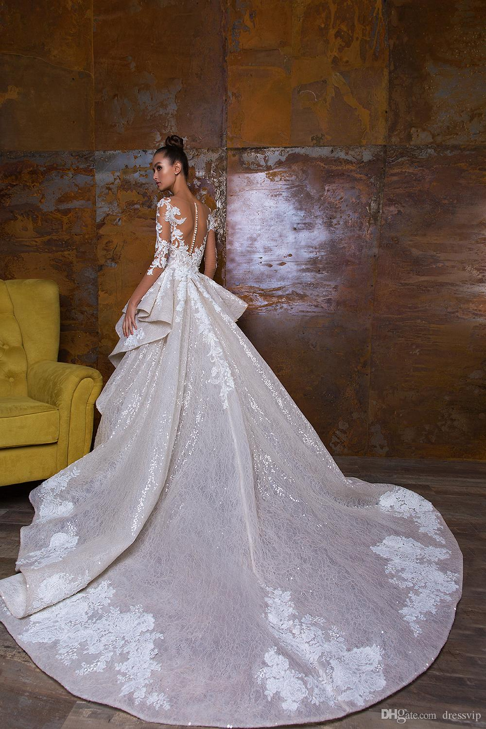 Bohemian Wedding Dresses With Detachable Skirt Sweep Train Lace Applique Sequins Long Sleeve Bridal Dress Luxury Mermaid Wedding Gowns