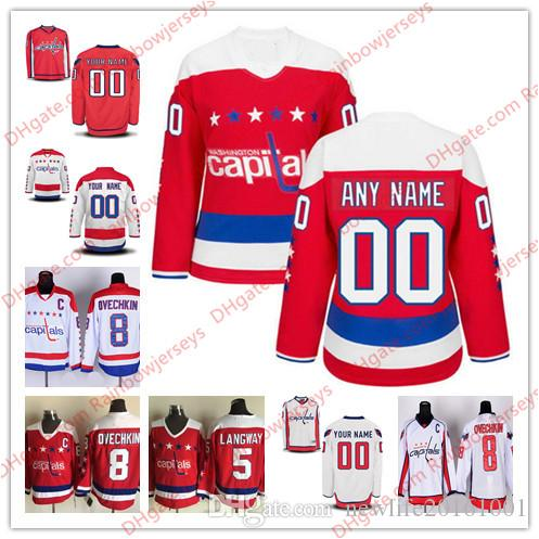 on sale 2ef9e 7e209 Custom Washington Capitals #77 T. J. Oshie 13 Jakub Vrana 79 Nathan Walker  Orpik Ovechkin Men Women Youth OLD Hockey Jerseys White Red Third
