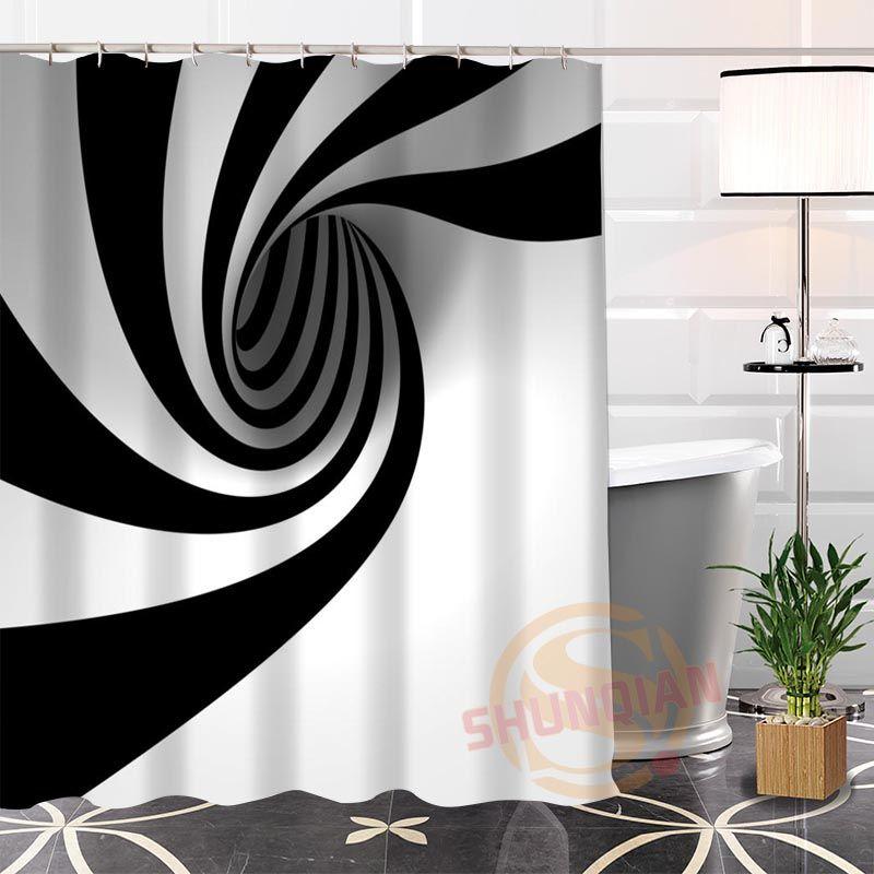 2019 100 Polyester Black White Fabric Shower Curtain Custom Popular