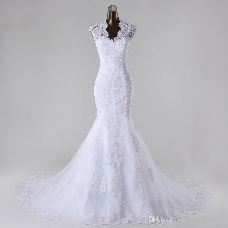 9f60de1400ef Customized Design Mermaid Plus Size Bridal Gowns White Queen Anne Tulle Lace  Appliques Beaded Wedding Dress Chapel Train Vestidos De Novia Muslim Wedding  ...