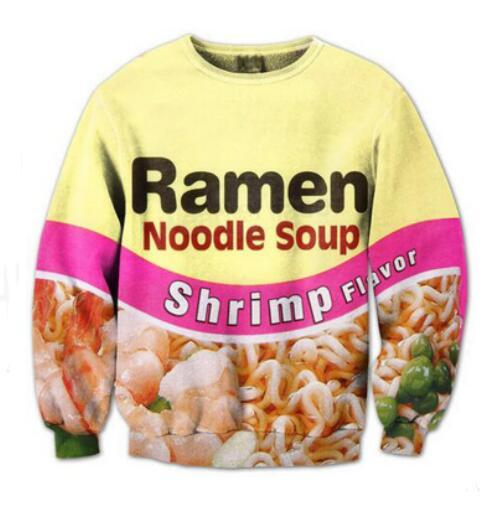 2018 Newest Fashion Women Men Sweatshirt Ramen Noodle Soup Funny 3d