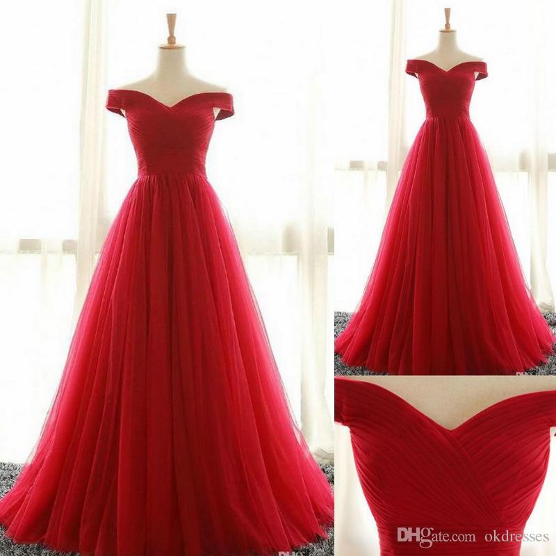 Vestidos de fiesta rojos Vestidos de baile, Vestidos largos de fiesta, Fuera del hombro Una línea simple Barato Rojo Alto Bajo Vestidos de baile
