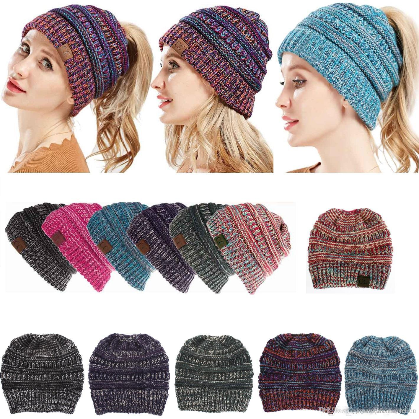 Winter Knitted CC Hats CC Knitted Beanies Fashion Winter Ponytail Hat Back Hole  Caps Casual Outdoor Hats Online with  4.7 Piece on Greatutureinnovation s  ... f45c3cba7e9