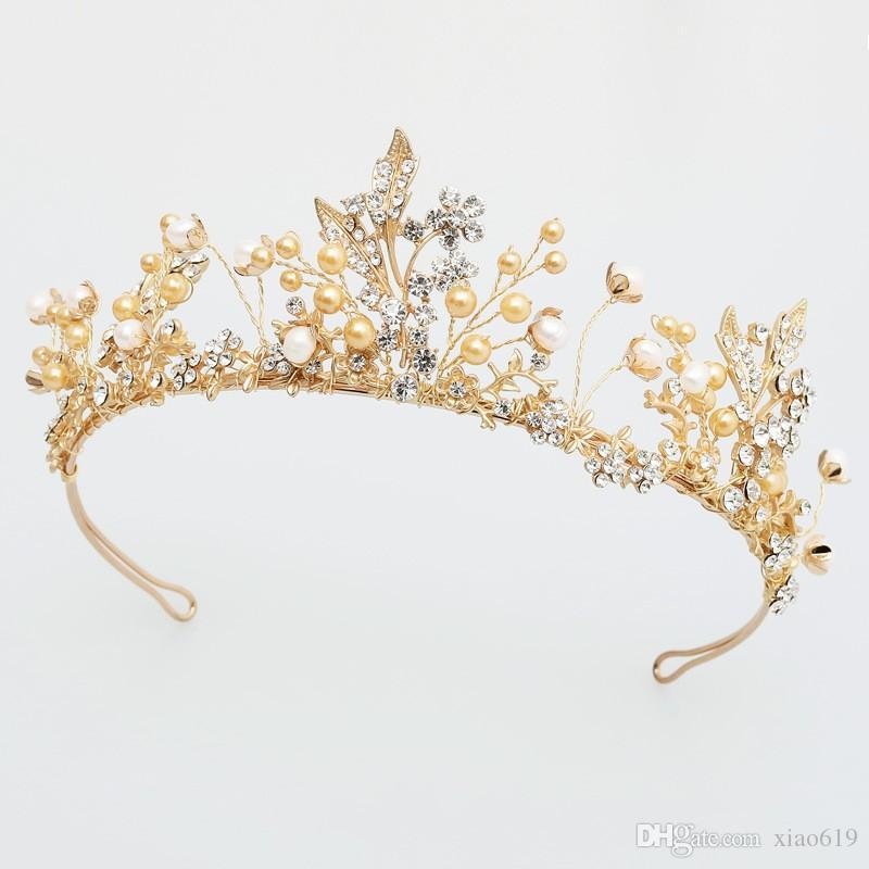 Handmade Vintage Golden Leaf Crown Wedding Tiara Hairband Rhinestone Bridal  Hair Accessories Crowns Women Hair Jewelry Hair Pins Bridal Handmade Bridal  ... b8d45a1107b9