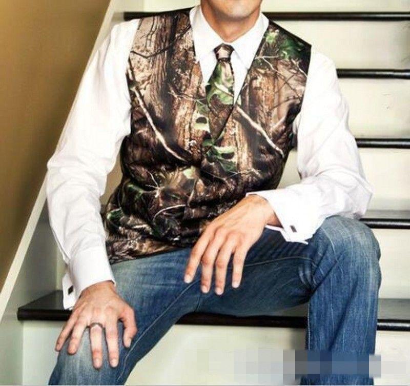 2020 Nova Camo Groom Coletes Para País casamento Realtree Primavera Camouflage Slim Fit Mens Traje set Vest + Tie Custom Made Plus Size