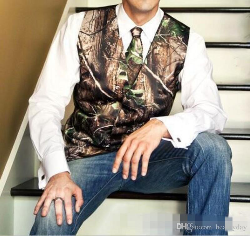 2020 جديد كامو العريس سترات واقية للبلد الزفاف REALTREE الربيع التمويه صالح سليم رجل بزي 2 قطعة مجموعة الصدرية + ربطة عنق مخصص زائد الحجم